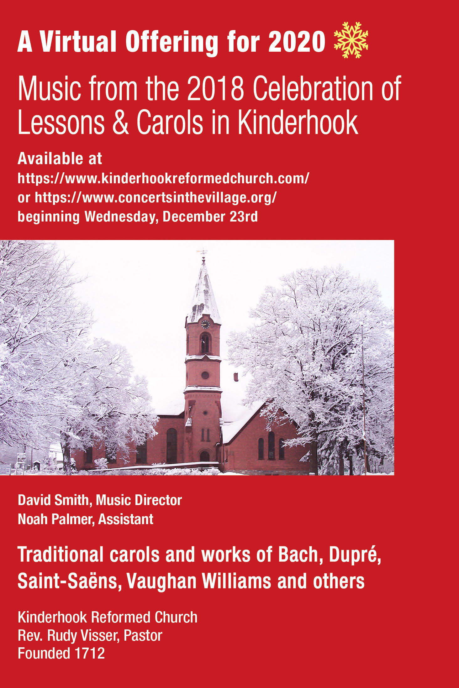 poster for replay of Dec 2018 Lessons and Carols service